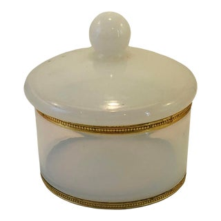 White Opaline and Bronze Powder Box For Sale