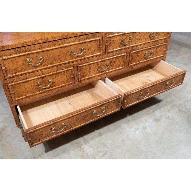 1960's Vintage Ficks Reed Faux Bamboo 7 Drawer Dresser For Sale - Image 9 of 13