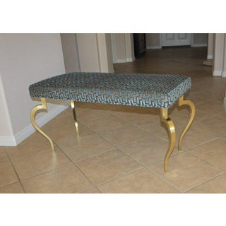 Italian Mid-Century Modernist Cabriole Leg Brass Bench Preview