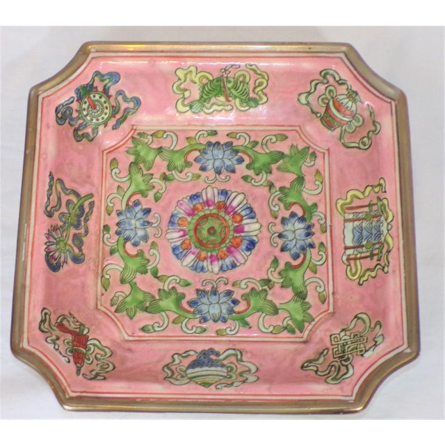 Ceramic Chinese Export Porcelain Decorative Blush and Caledon Catchall Dish For Sale - Image 7 of 9