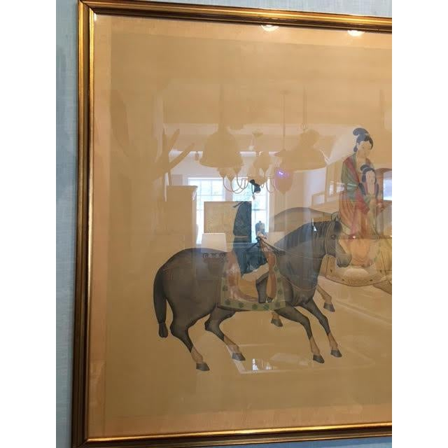 Gold Large Chinese Painting on Silk, Women on Horseback For Sale - Image 8 of 12