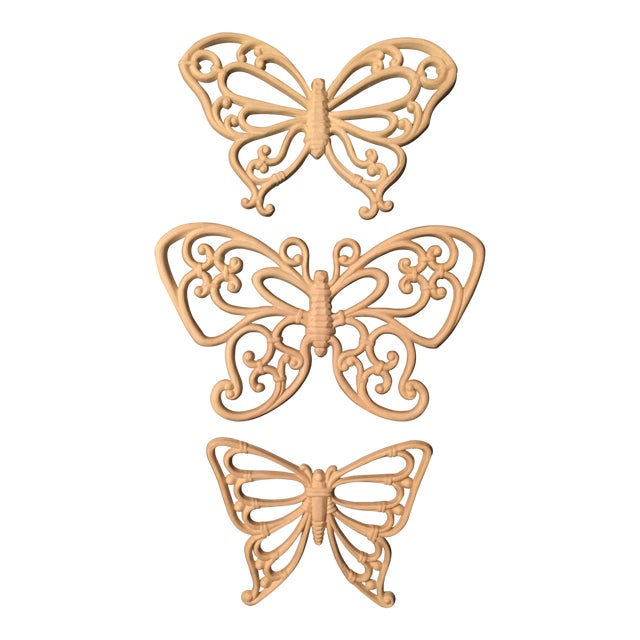 1970s Boho Chic White Homco Butterfly Wall Decor - 3 Pieces For Sale