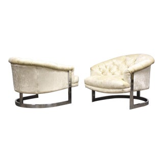 Milo Baughman Style Chrome Lounge Chairs - a Pair For Sale