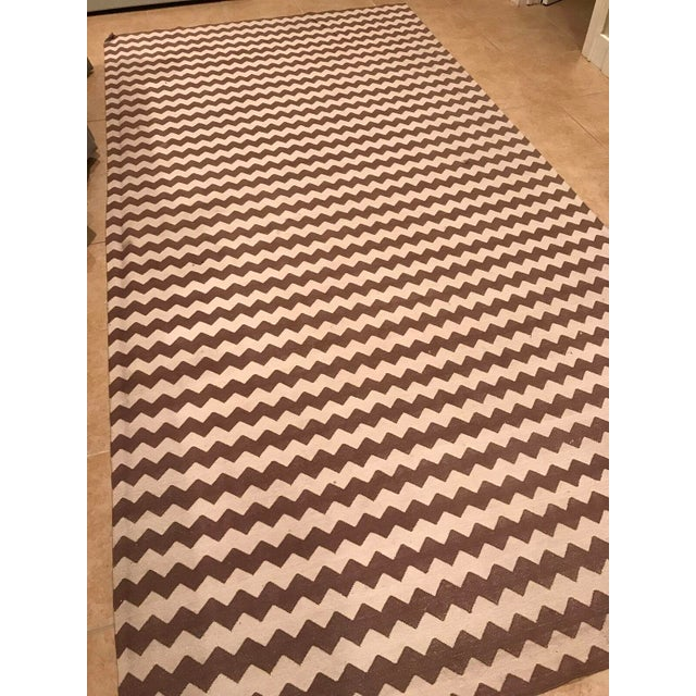 Madeline Weinrib Brown and White Chevron Area Rug - Image 4 of 4