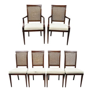 French Louis XVI Provincial Style Cane Back Cherry Wood Dining Chairs - Set of 6