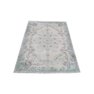 Soft Color Mint Green Persian Tabriz Rug - 7′9″ × 11′3″ For Sale