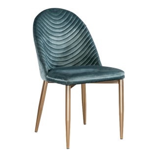 Showroom Sample Wave Upholstered Dining Chair in Teal For Sale