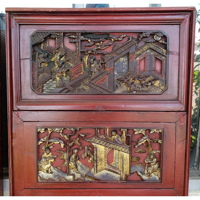 Late 19th Century Chinese Carved Gilded Lacquered Wood Imperial Court Motif Panels - a Pair For Sale In New Orleans - Image 6 of 9