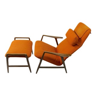 1950s Vintage Alf Svensson for Fritz Hansen Kontor Chair and Ottoman For Sale