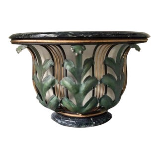 1950s Art Deco Wrought Iron and Marble Console Table For Sale