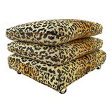 Image of Vintage Stacked Pillow Leopard Print Ottoman For Sale
