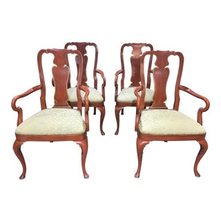 Kindel Furniture Queen Anne Style Arm Chairs - Set of 4 For Sale