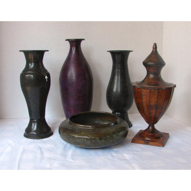 Metal Vases Metal Bowl Lidded Metal Jar 5 Pieces Chairish