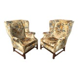 Image of Edwardian Floral Bouquet Quilted Velvet Wingback Chairs - a Pair For Sale