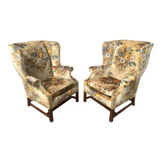 Edwardian Floral Bouquet Quilted Velvet Wingback Chairs - a Pair For Sale