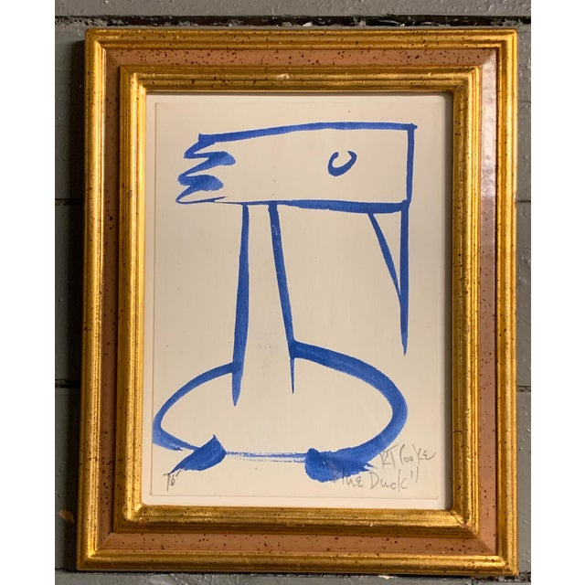 """Original Vintage Abstract """"Blue Duck"""" Painting by Robert Cooke For Sale - Image 4 of 4"""