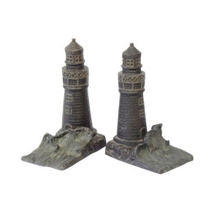 Vintage Mid Century Lighthouse Bookends - a Pair For Sale