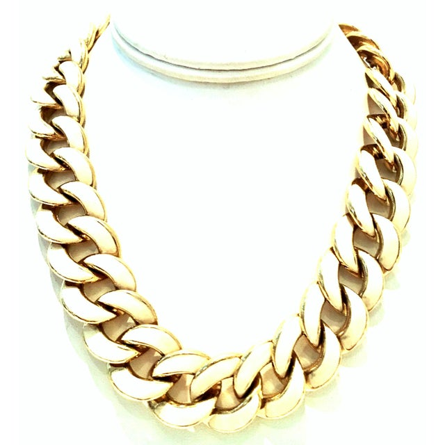 20th Century Gold Plate & Ivory Enamel Chain Link Choker Style Necklace By, Les Bernard. Signed on the underside of the...