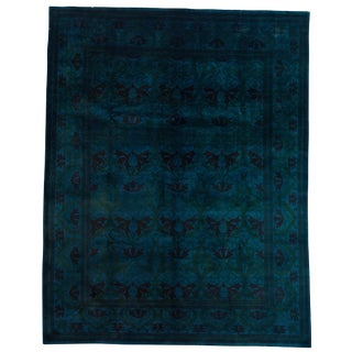 "Traditional Hand Knotted Teal Wool Area Rug - 8'1"" X 10'3"""