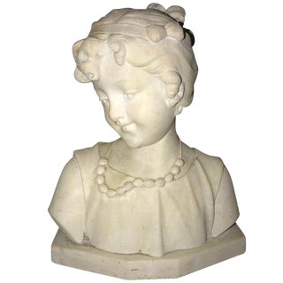 Signed 19th Century Marble Miniature Bust of a Young Girl Signed on Reverse For Sale