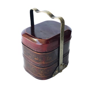 "Chinese Wood & Leather Tiffin Box 7.75"" H For Sale"