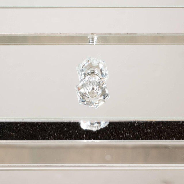 Glass Contemporary Directoire Style Custom Mirrored Nightstands with Three Drawers - a Pair For Sale - Image 7 of 10