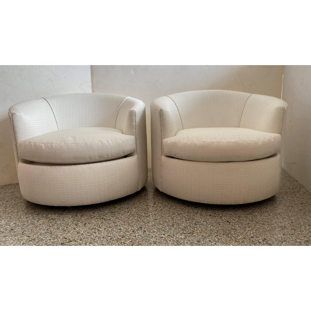 Modern Vintage Swivel Club Chairs - a Pair For Sale - Image 3 of 12
