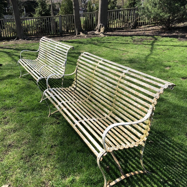 French 1920's White Garden Benches - a Pair For Sale - Image 4 of 12