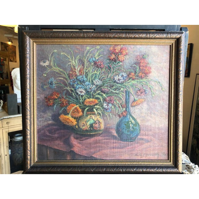 1920s Vintage Edyth Glover Ellsworth Still Life With Flowers and Blue Vase Painting For Sale - Image 11 of 11