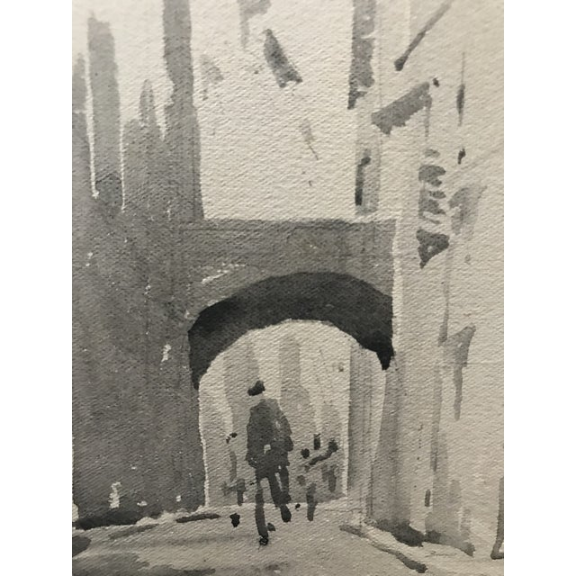 Illustration 1920s European Cityscape Black & White Watercolor Painting For Sale - Image 3 of 3