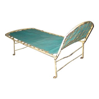French Early Modern Style Fully Adjustable Campaign Daybed or Chaise Longue