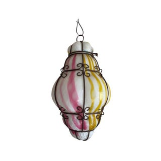 1960s Vintage Murano Caged Glass Pendant Lanterns in Pink and Turquoise For Sale