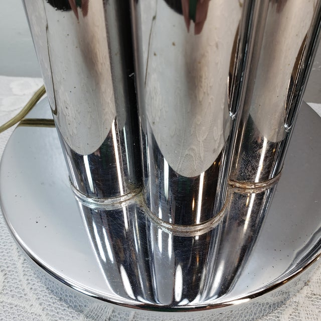 Chrome 1960s Mid Century Modern Chrome Table Lamp Cylinder Sculptural - a Pair For Sale - Image 8 of 9