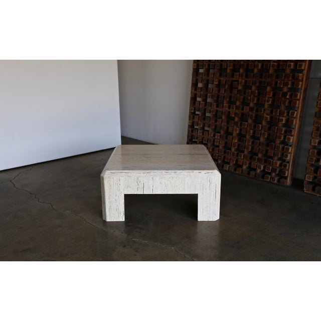 Modern 1980s Vintage Modernist Travertine Coffee Table For Sale - Image 3 of 10