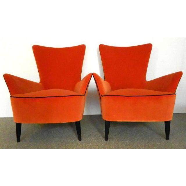 Textile Pair of Italian Mid Century Modern Reupholstered Orange Velvet Armchairs, 1960s For Sale - Image 7 of 8