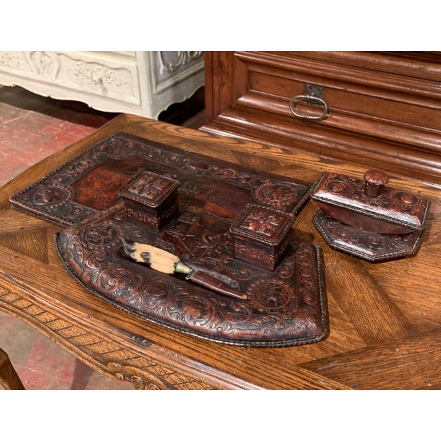 Decorate a man's office desk with this elegant Gothic set; created in France circa 1860 and made of brown embossed and...
