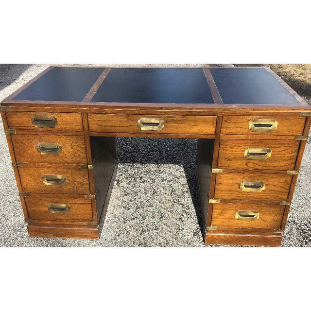 1970s 1970s Campaign Parnter Desk by Sligh For Sale - Image 5 of 11