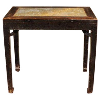 1720s Chinese Lacquered Elm and Stone Wine Table For Sale