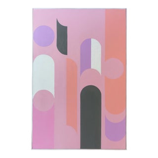Colorful Framed Abstract Painting on Canvas With Pink Hues by J. Marquis For Sale