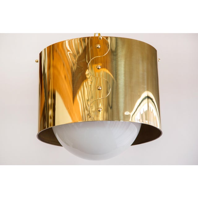 Contemporary Mid-Century Pair of Brass Drum Shaded Pendants For Sale - Image 3 of 6