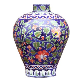 Gorgeous Jaipur Blue Floral Vase For Sale