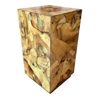 Vintage Modernist Burl Wood Pedestal For Sale