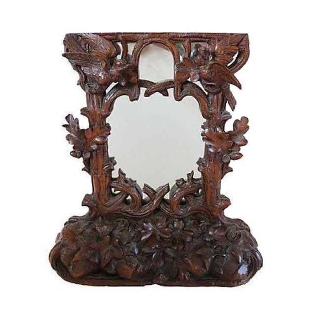 Antique Hand-Carved Black Forest Bureau Mirror - Image 1 of 7