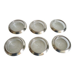 Sterling Silver & Glass Vintage Whiting Coasters - Set of 6