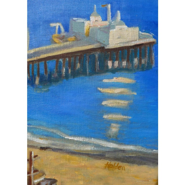 Beautiful detailed original, unique and contemporary plein air oil painting of a view of the highway and pier in Malibu,...