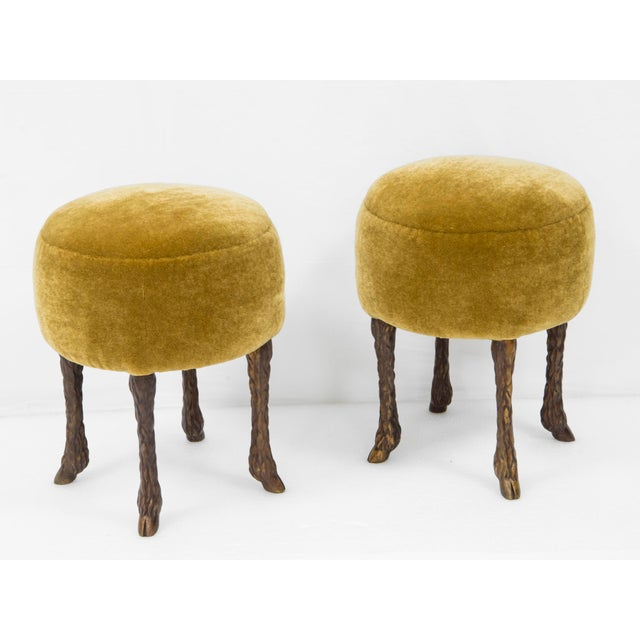 "2010s Marc Bankowsky - Pair of Stools ""Goat Feet"" - Bronze and Velvet - 2018 For Sale - Image 5 of 5"