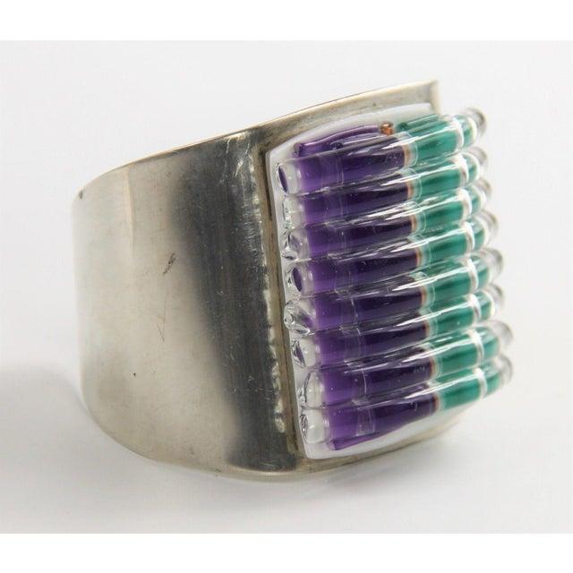 1980s 1989 David Garcia Fused Glass Artisan Cuff Bracelet For Sale - Image 5 of 7