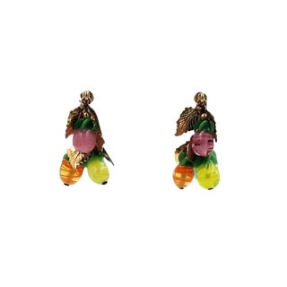 1960s Napier Art Glass Fruit Drops Earrings For Sale