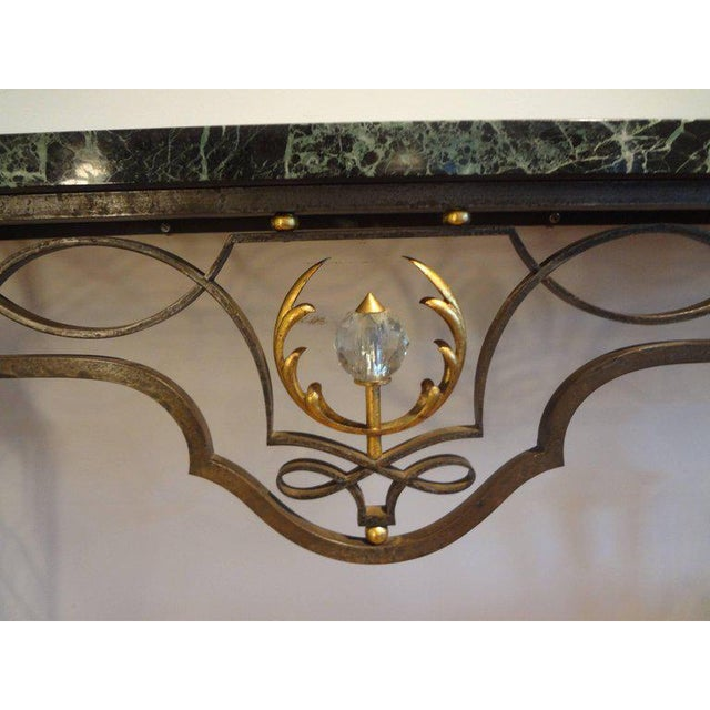 1940s French Neoclassical Gilbert Poillerat Style Wrought Iron Console Table For Sale - Image 5 of 10
