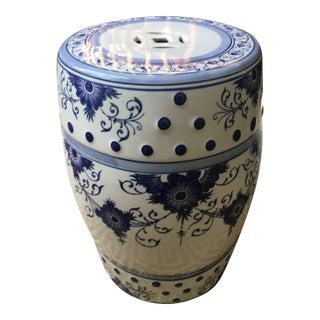 Blue and White Ceramic Porcelain Garden Stool For Sale